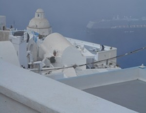 A foggy morning in Santorini provided inspiration for a book scene